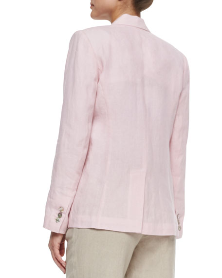 One-Button Linen Blazer, Plus Size