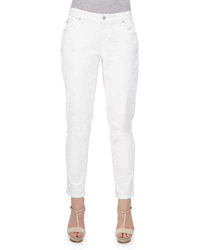 Stretch Boyfriend Jeans, White