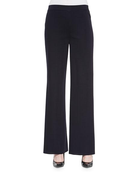 Misook Washable Wide-Leg Pants, Black, Plus Size