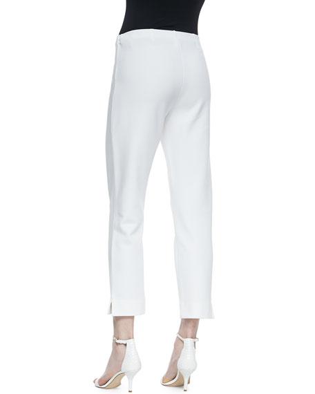 Slim Ponte Ankle Pants, White