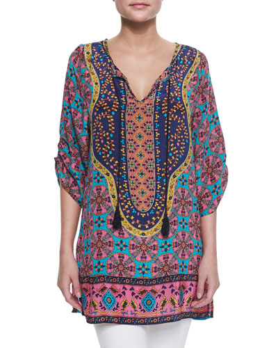Marina Long Printed Tunic, Pink, Women