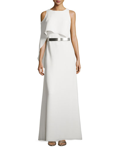 Boat-Neck Gown with Asymmetric Flutter Drape