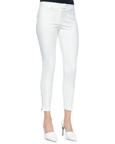 Veronica Beard Slim-Fit Zip-Pocket Pants