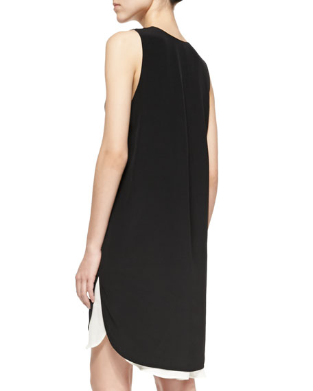 Layered Sleeveless Silk Dress