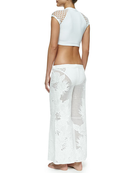 Netted Embroidered Wide-Leg Coverup Pants