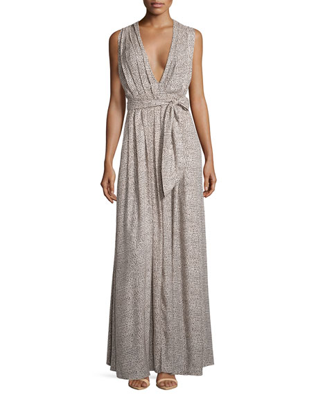 L'Agence Sleeveless Pleated Dot-Print Maxi Dress