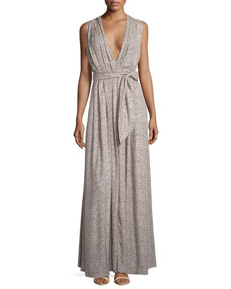 L'Agence Sleeveless Pleated Dot-Print Maxi Dress
