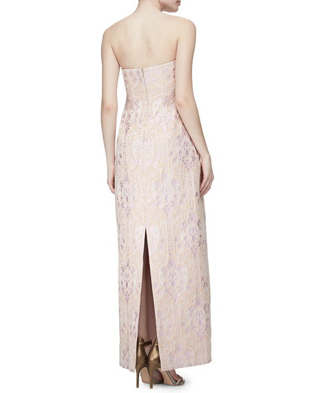 Strapless Sequined Jacquard Column Gown