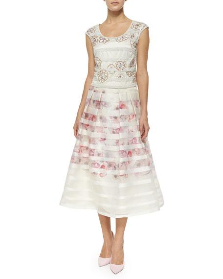 Striped & Floral Tea-Length Ball Skirt