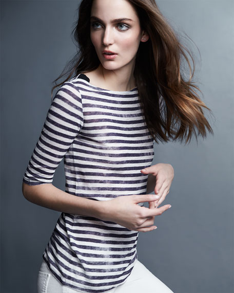 Majestic Paris for Neiman Marcus Striped Linen Half-Sleeve Top