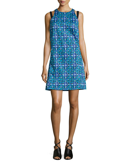 Risto Knit Hydra-Print Apron Dress, Topaz
