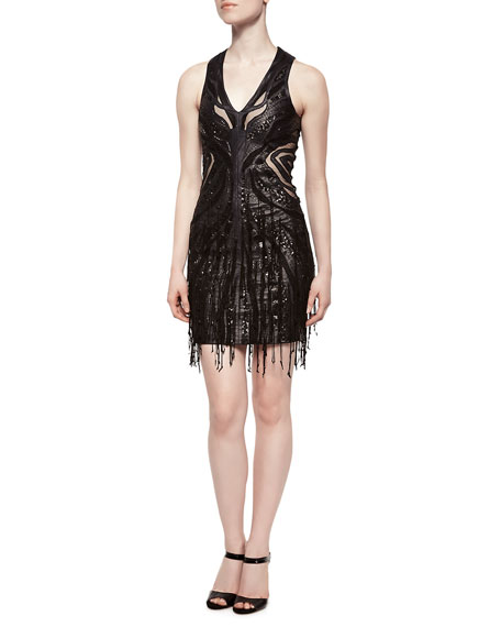 Haute Hippie Faux-Leather Cutout Fringe Dress