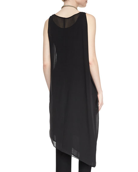 Sleeveless Asymmetric Knee-Length Dress