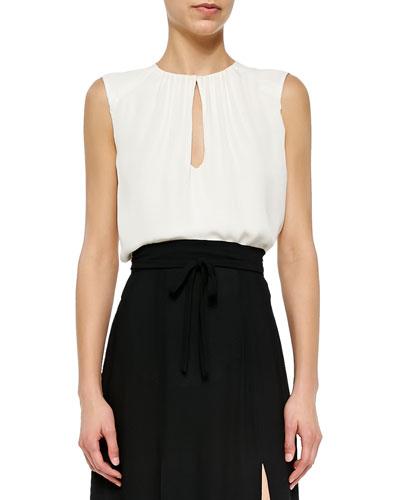 Sleeveless Silk Keyhole Blouse, White