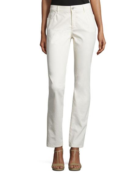 Lafayette 148 New York Curvy Slim-Leg Jeans, Ecru
