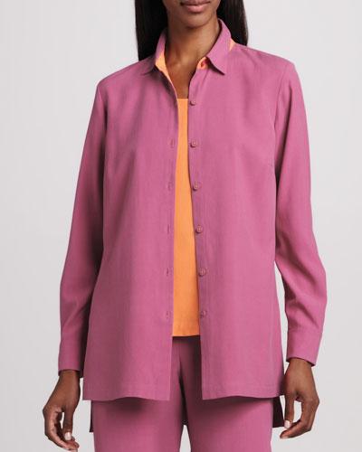 Easy-Fit Colorblock Silk Shirt, Petite