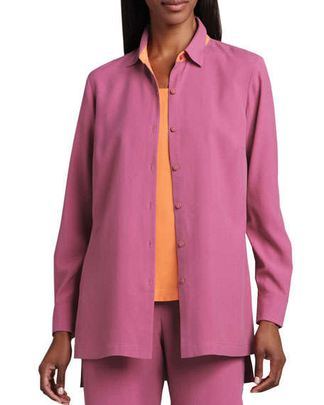 Easy-Fit Colorblock Silk Shirt, Plus Size