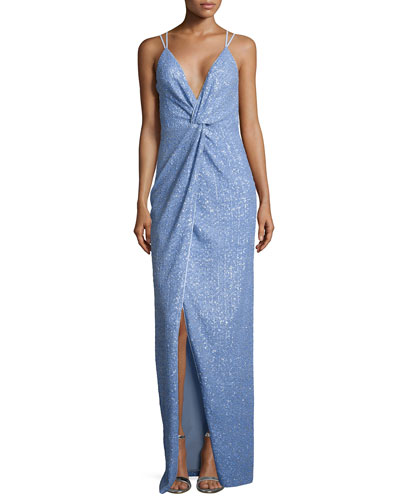 Sleeveless V-Neck Twist Sequined Gown