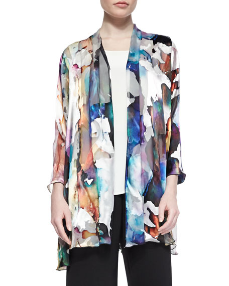 Caroline Rose Hand-Painted Silk-Blend Devore Cardigan, Long Silk