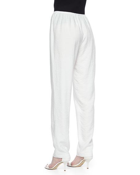 Cabo Crinkle Straight-Leg Pants, White