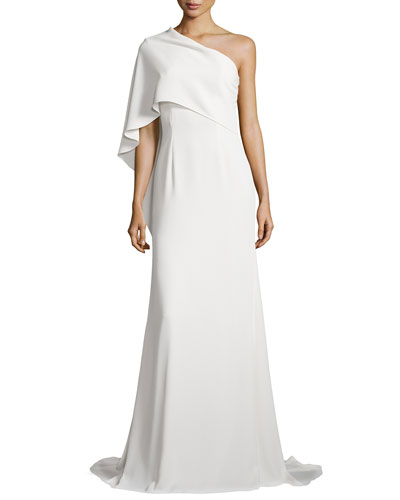 One-Shoulder Cape Gown, Ivory