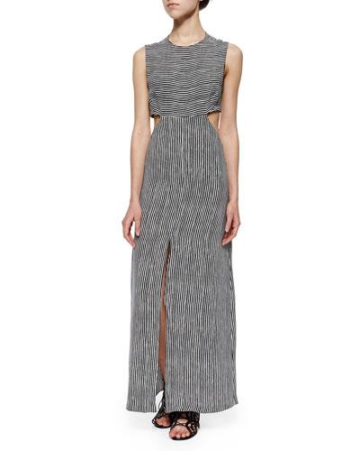 Loretta Mixed-Stripe Maxi Cutout Dress