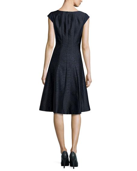 Full-Skirt Jacquard Dress