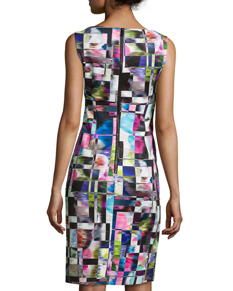 Cubist-Print Midi Sheath Dress, Multicolor