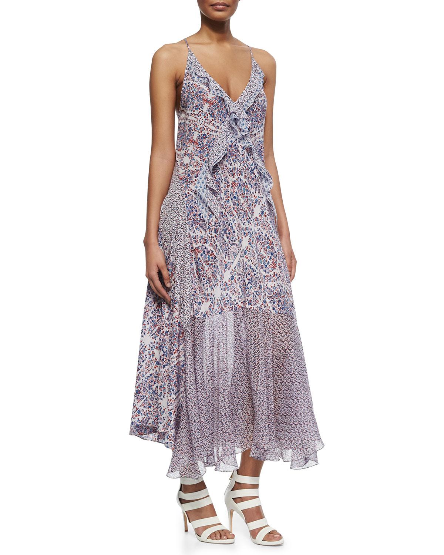 Rebecca Taylor Mixed-Print Sleeveless Midi Dress | Neiman Marcus
