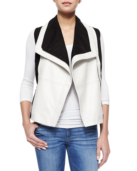 Bagatelle Colorblock Asymmetric Vest, Black/White