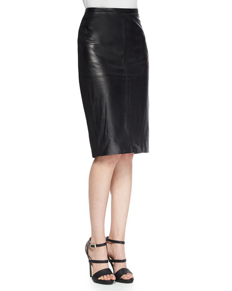 Bagatelle Leather/Ponte Pencil Skirt