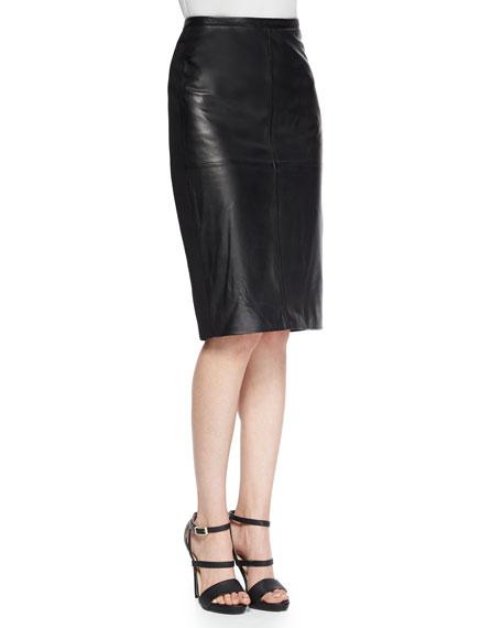 Bagatelle Leather/Ponte Pencil Skirt