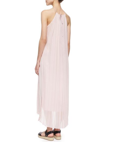 Tibi Simone Pleated Silk Midi Dress