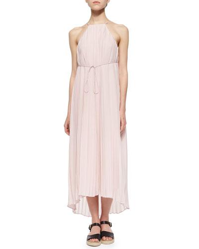 Simone Pleated Silk Midi Dress