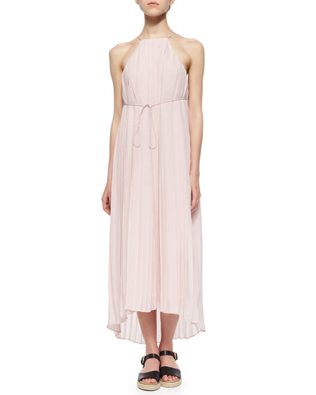 Tibi Simone Pleated Silk Midi Dress
