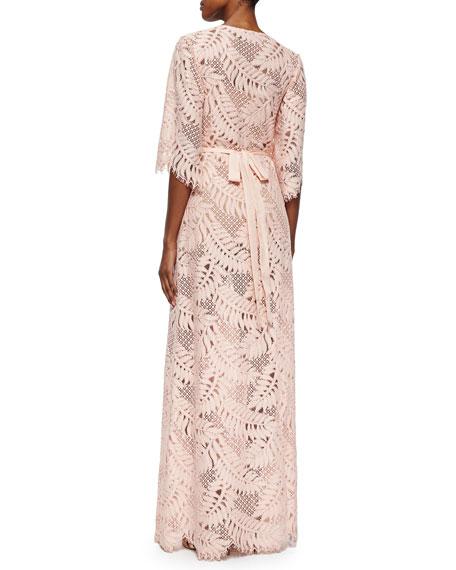 Alexis Keven Leaf-Pattern Crochet Dress
