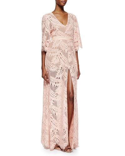 Keven Leaf-Pattern Crochet Dress