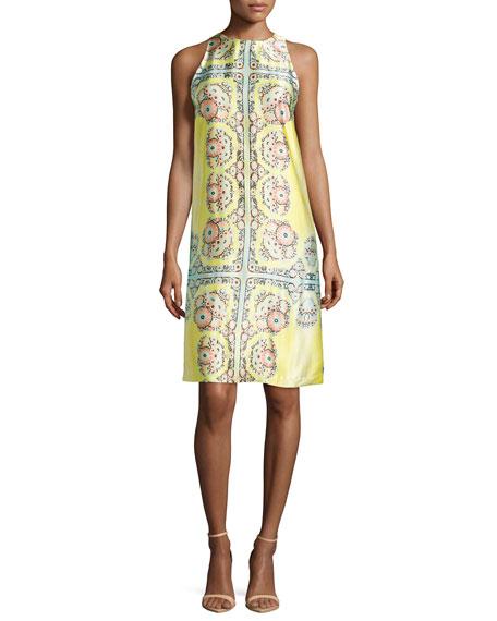 Nanette Lepore Sleeveless Medallion-Print Shift Dress, Sunburst