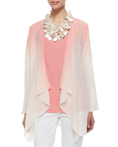 Ombre Draped Long Silk Jacket, Coral