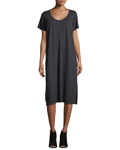 Hemp Twist Henley Tank Dress, Graphite, Women