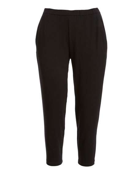 Slim Slouchy Ankle Pants, Black