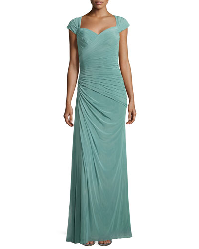 Cap-Sleeve Ruched Chiffon Gown, Navy