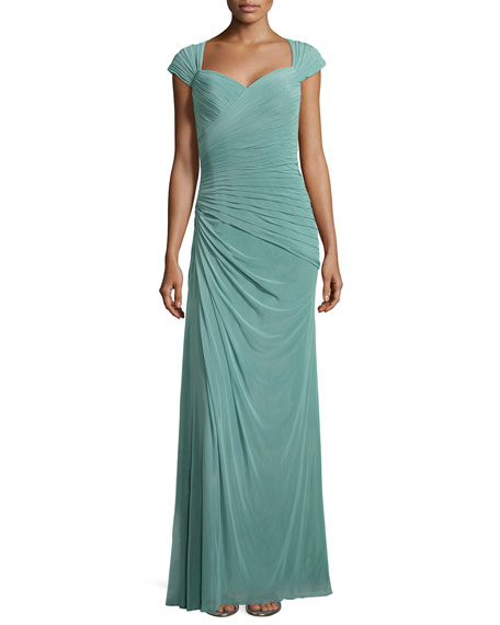La Femme Cap-Sleeve Ruched Chiffon Gown, Navy
