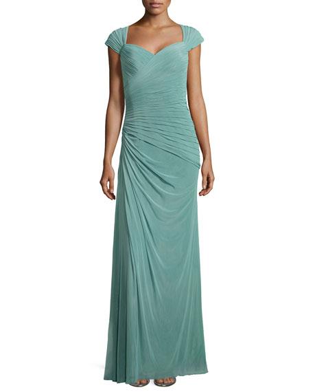 La FemmeCap-Sleeve Ruched Chiffon Gown, Navy