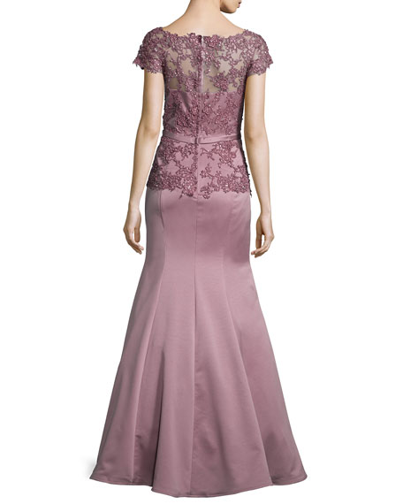 Belted Lace-Trim Satin Gown