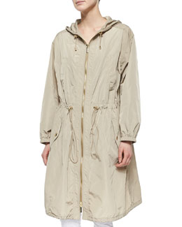 Long Tech Drawstring Anorak