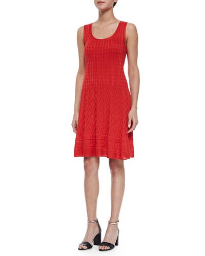 Sleeveless Multi-Pattern Fit & Flare Dress