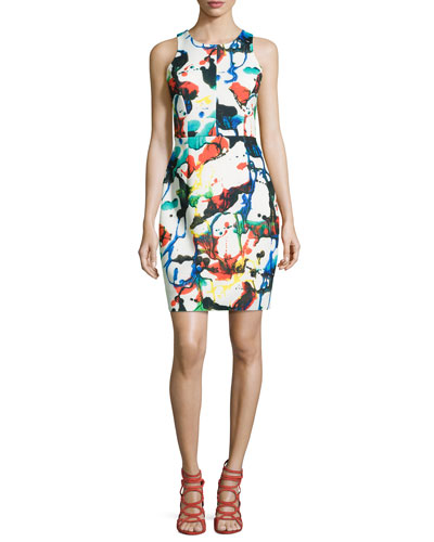 Expressionist Racerback Sheath Dress, Multicolor