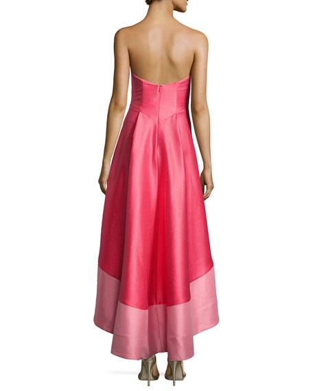 Strapless Colorblock Cocktail Dress, Melon