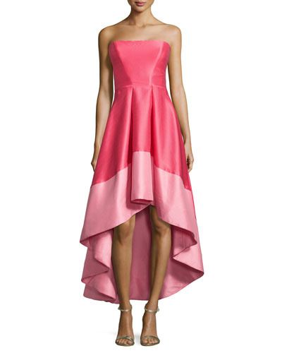 Strapless Colorblock Cocktail Dress, Melon